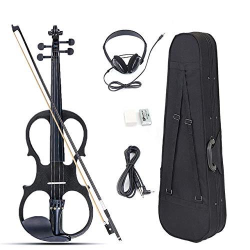 XTQDM Geige 4/4 Elektrische Akustikvioline Basswood Fiddle mit Geigenkastendeckel Bogen Kolophonium für Liebhaber von Saiteninstrumenten Anfänger, Schwarz, China