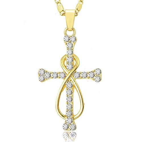 BGDRR Joyería de la Cadena de Cristal de circón Color Plata Surround Cruz de la religión Manera del Collar del Partido de Las Mujeres de la Boda for el Regalo Pendiente (Metal Color : Gold)