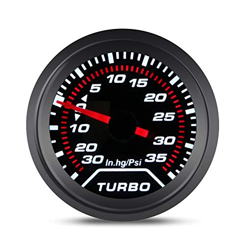 """WATERWICH 35 PSI Turbo Boost / Vacuum Gauge Meter Kit Includes Mechanical Hose & T-Fitting - Black Dial - Clear Lens 2"""" 52mm 12V Universal for Car Truck"""