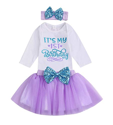 YOUNGER TREE Newborn Baby Girls It's My 1st Birthday Dress Infant Shiny Printed Sequin Bowknot...
