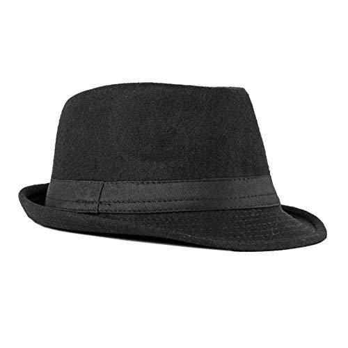 FBBULES Cappello Fedora Cappello Stile Gangster Elegante Jazz Trilby Cappelli e Cappellini Classico Cappello in Feltro Ripiegabile in Viaggio Cappelli Panama per Uomo Donna