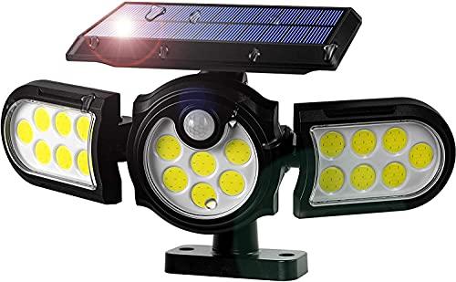 Luz Solar Exterior Jardín, 1 Piezas 140 LED Sensor de Movimiento Solar Luz de Pared de Seguridad y Focos en el Suelo, 270° Ajustable IP65 Impermeable Lámpara para Jardín Porche Terraza Patio Garaje