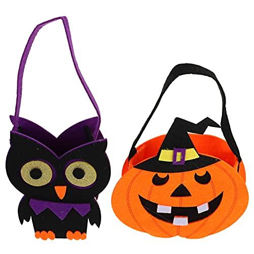 PRETYZOOM 2 Piezas de Halloween Bolsas de Mano de Forma de Búho de Calabaza Bolsas de Truco O Trato Bolsas de Dulces Bolsas de Supermercado Bolsas de Regalo de Fiesta de Halloween