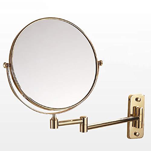 Le Miroir De Maquillage Mural Double Face, 20 cm, Or, Base Carrée, Installation sans Perforation, Peut être Utilisé pour Le Maquillage, Pincer L'acné, Porter des Lunettes, etc.