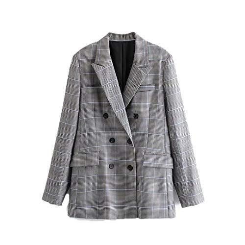 BoxJCNMU Vintage Dame Plaid Blazer Anzug Langarm-Büro-Mantel-Frauen zweireihiger Houndstooth Outwear Plaid L
