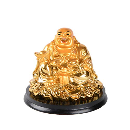 Brass Statu Resin Golden Laughing Buddha Sitting on Coins Figurine Feng Shui Wealth Lucky Gift Decoration