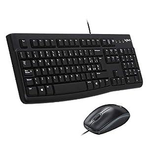 Logitech MK120 è composto da tastiera e mouse cablati dal tocco confortevole e silenzioso Tastiera e mouse logitech MK120 è resistente alle abrasioni e agli spruzzi d'acqua e puoi regolarne l'altezza di lavoro come vuoi Il mouse cablato ottico a 1.0...