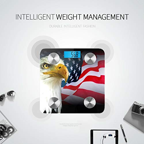 JXCSGBD USA Bald Eagle American Flag Best Weight Scale Weight Scale Body Fat Digital Scale Body Weight Tracks 8 Key Compositions Analyzer Sync with Fitness Apps 400 Lbs