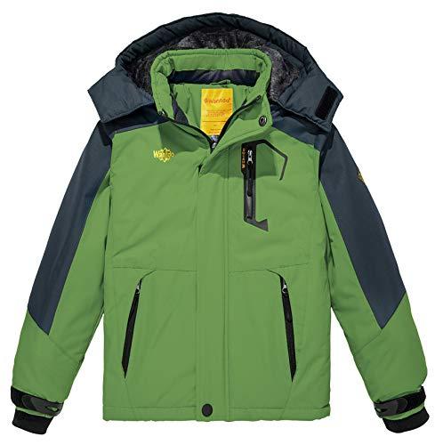 Wantdo Regenjassen voor Jongen Ski Jassen Fleece Capuchon Buiten