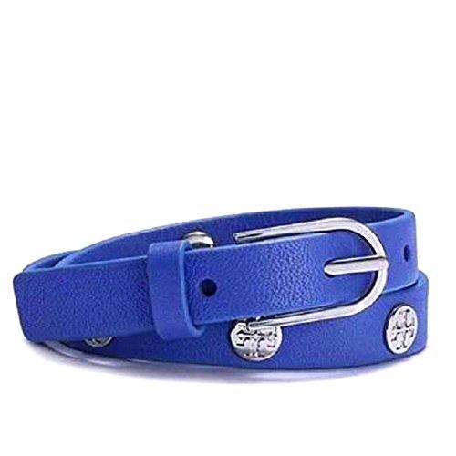 Tory Burch Double Wrap Stamped Logo Stud Bracelet, Regal Blue
