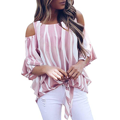 Discover Bargain Lovor Women's Striped 3/4 Bell Sleeve Cold Shoulder Front Tie Knot T Shirt Tops Blo...