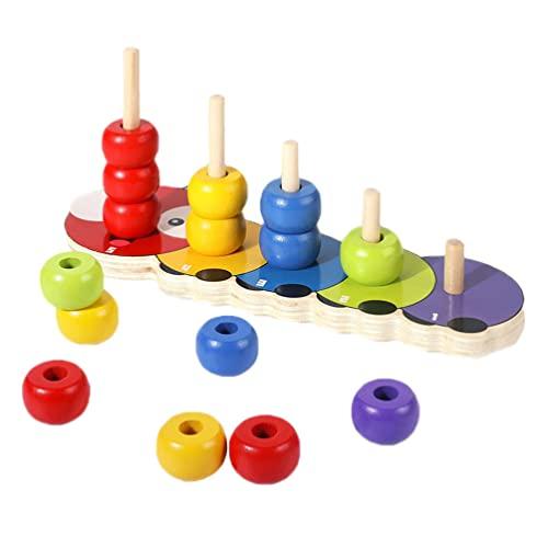 balacoo Tipo di Bordo di Legno Stacking Giocattoli: Costruzione di Anelli Stacker Legno Colorato Stack Torre Apprendimento Precoce Montessori Giocattolo Educativo per Il Capretto del