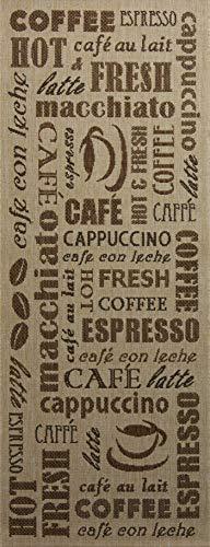 Tapis de Cuisine Coffee Time Beige 80x200 cm - Tapis de Couloir Pas Cher
