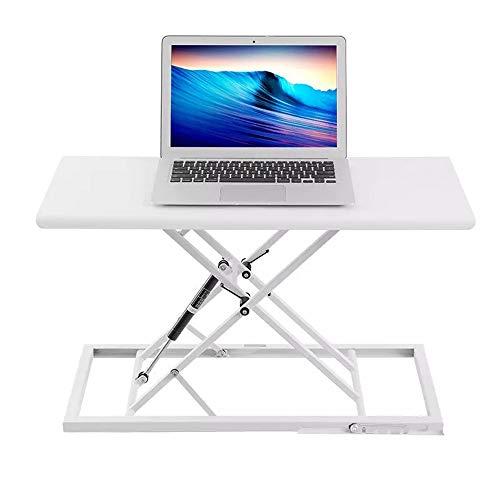 Zxllyntop Laptop-Lerntisch Workstation Gaming Desk Folding Notebook Tisch Laptop Schreibtisch-Computer-Adjustable Steh-Sitz-Dual-Use-Nachttisch (Farbe : Weiß, Größe : 68x34cm)