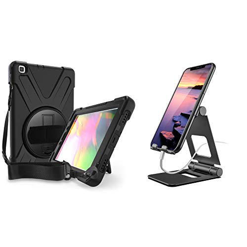 ProCase Galaxy Tab A 8.0 2019 Rugged Case T290 T295 Bundle with Foldable Cell Phone Stand Tablet Stand for iPhone, iPad, Kindle, Nintendo Switch, Smartphone and Tablet up to 13'