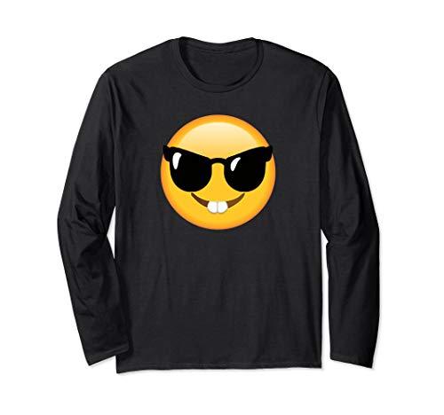 Emoticon, lustig, Gesicht, Nerd-Brille, glückliches Gesicht Langarmshirt