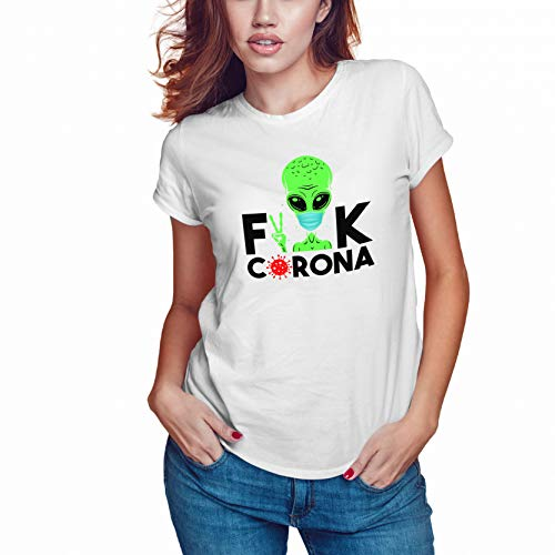 Fuck The Virus Stay At Home Camiseta Blanca Mujer Size S