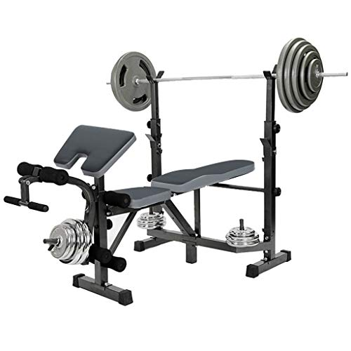 Multifunctional Weight Bench for Full Body Exercise,Olympic Weight Bench with Barbell Rack Stand for Home Gym,Workout Benches with Squat Rack,Leg Extension,Preacher Curl,330Lb (Black, US Stock)