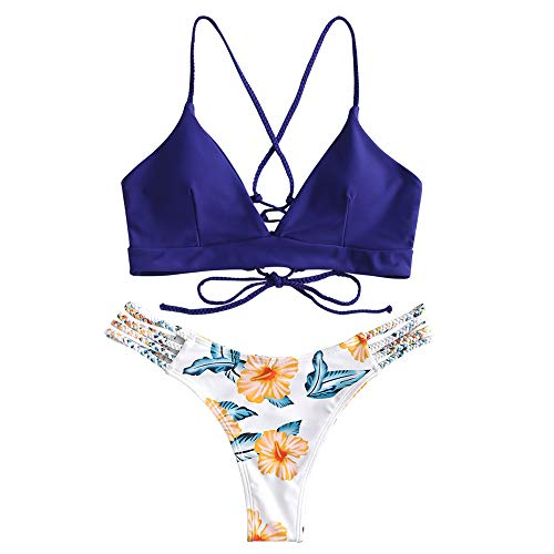 ZAFUL Women Braided Straps Lace Up Bikini Set Bralette Swimsuit Flower Bathing Suit Dark Blue S