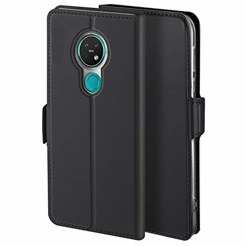HoneyCase für Handyhülle Nokia 7.2 Hülle Leder Premium Tasche Case für Nokia 6.2, Schutzhüllen aus Klappetui mit Kreditkartenhaltern, Ständer, Magnetverschluss, Schwarz