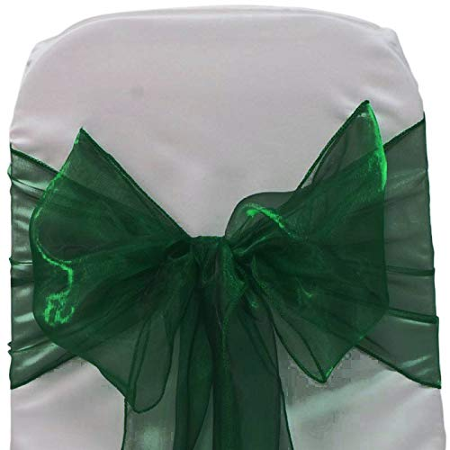mds Pack of 25 Organza Chair sash Bow Sashes for Wedding and Events Supplies Party Decoration Chair Cover sash -Hunter Green