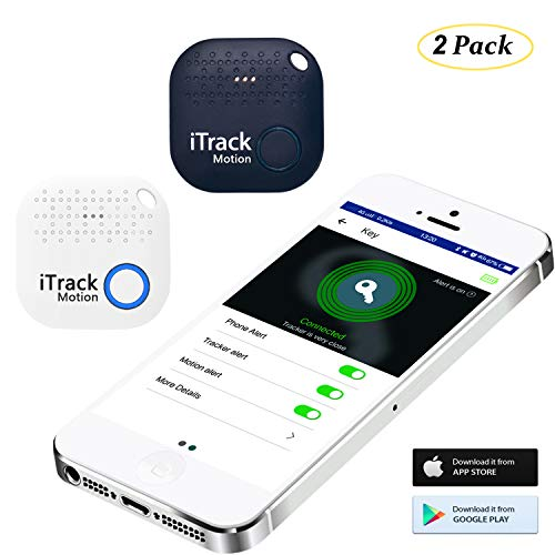iTrack Motion Key Finder, Bluetooth Key Tracker Item Finder Locator Device for Phone Keychain Wallet Bags Luggage, 2-Pack White+Dark Blue
