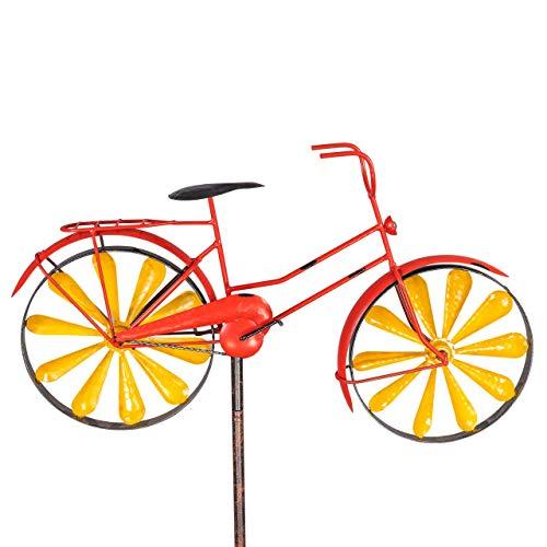 CIM Metall Gartenstecker mit Windrad - Bicycle - wetterfest - mit Antik-Effekt - Windräder: Ø18cm, Motiv: 51x32cm, Gesamthöhe: 160cm – attraktive Gartendekoration (Bright Red)