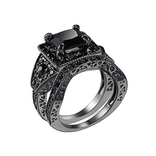 KnBoB Schwarz Vergoldet Damen Antike Zwei Ring Set Ring Quadrat Schwarz Zirkonia Verlobungsringe Eheringe Größe 62 (19.7)