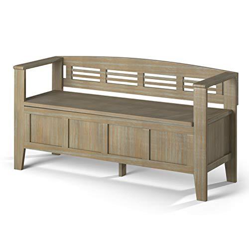 SIMPLIHOME Adams Entryway Storage Bench 48 inch Distressed Grey