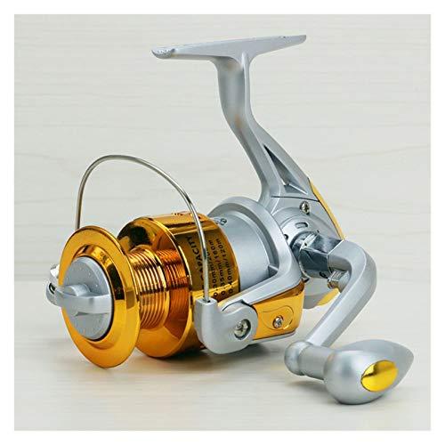 Bait reel Spinning Carbon Fibra Drag Ultimate Ultra Light Pesca de agua dulce Reel 1000-7000 Serie Spin Plastic + Metal Rocker Brazo reel (Color : Gold, Spool Capacity : 2000 Series)