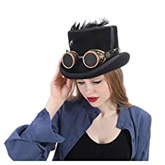 MUJUN Unisex Punk Men's Women's Festival Costume Set Black Hat with Goggles, Steampunk Top Hat, Victorian Wedding Top Hat, Burning Men Cosplay Nutcracker Festival Hat Cosplay Hats #1
