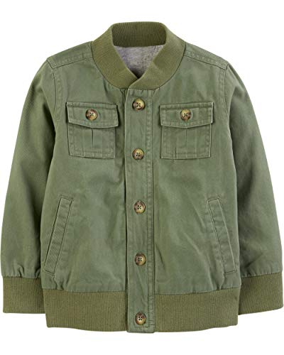 Simple Joys by Carter's Boys' Toddler Twill Button up Jacket, Green, 2T