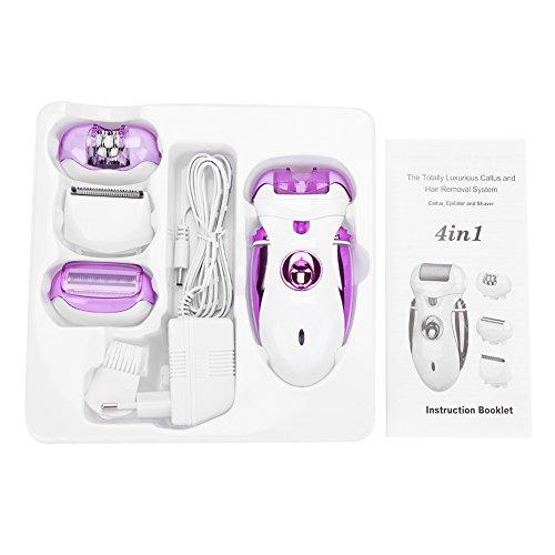 DEWIN Epilierer - Damen Epilierer Frauen 4-in-1-elektrischer nachfüllbarer Epilierer Haar-Abbau-Rasierapparat Fußpflege-Maniküre (Lila)