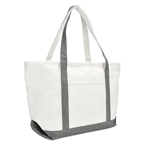 DALIX 23' Premium 24 oz. Cotton Canvas Shopping Tote Bag (Gray)