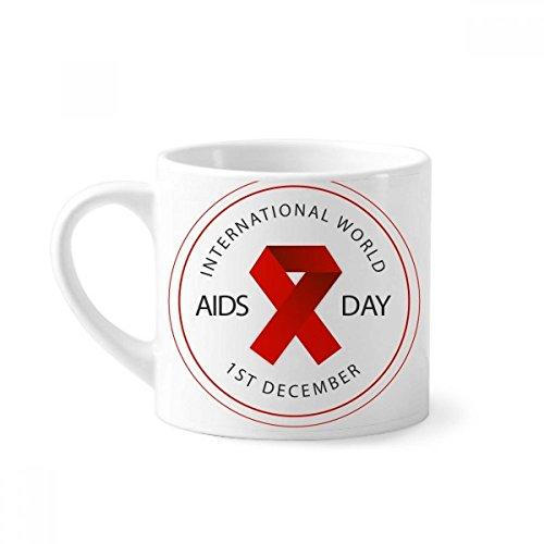 DIYthinker Conciencia de la Cinta roja del SIDA vih día solidario Mini Taza Blanca cerámica Taza de cerámica con el Regalo de la manija 6 oz
