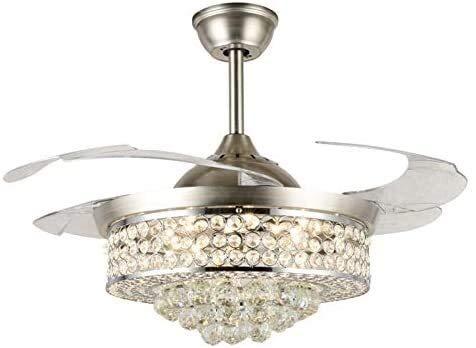 JUULLN Los Ventiladores de Techo de Cristal con Luces, Modernas lámparas de iluminación de lámparas de lámpara Invisibles Hoja retráctil, 3 Colores de Cambio (Voltage : 110V)