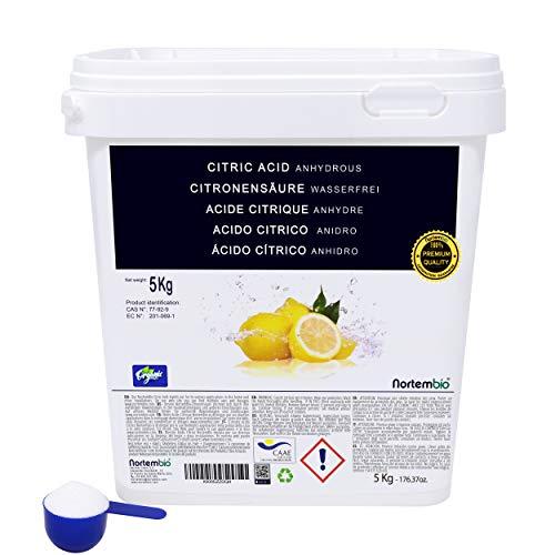 NortemBio Acido Citrico 5 Kg. Polvere Anidro, 100% Puro. Per Produzione Biologica. Sviluppato in Italia.