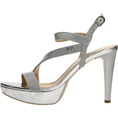 Nero Giardini , Chaussures à Brides Femme - Argenté - Ghiaccio, 38 EU EU