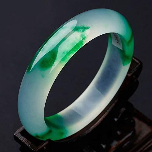 HSUMING Weißer Jade-Armreif für Frauen, grüner Smaragd-Armreif für Mädchen, Geschenk zum Muttertag,B,60