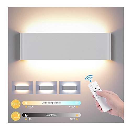 Wandleuchte Innen mit Fernbedienung, 20W 1800LM Smart Wandlampe Dimmbar 2700K-6500K CCT Einstellbar und Helligkeit Modern Up Down Wandbeleuchtung mit Nachtlicht Modus für Schlafzimmer Flur Treppen