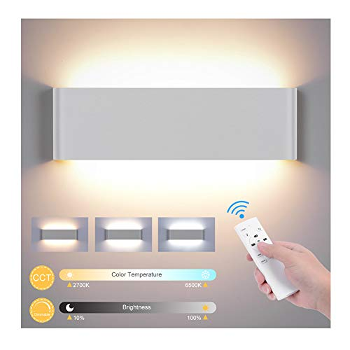 Wandleuchte Innen mit Fernbedienung, 20W 1800LM Smart Wandlampe Dimmbar 2700K-6500K CCT Einstellbar und Helligkei Modern Up Down Wandbeleuchtung mit Nachtlicht Modus für Schlafzimmer Flur Treppen-Weiß