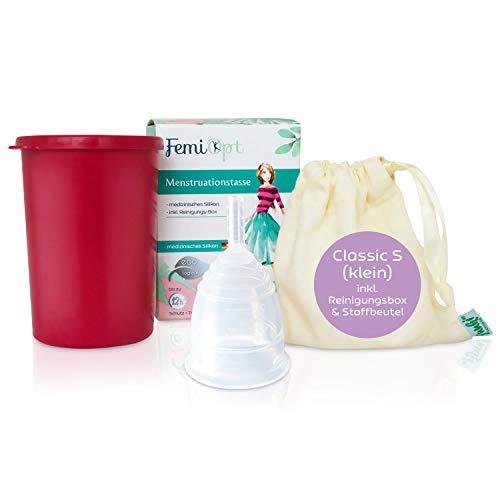Menstruationstasse FemiOpt-medizinisches Silikon aus DE/AT-sichere nachhaltige Monatshygiene inklusive Reinigungs-Becher-Stoffbeutel CLASSIC Größe S