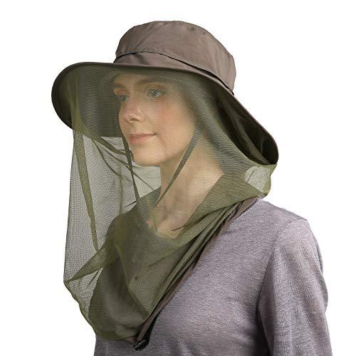 Flammi UPF 50+ Fishing Hat w/Head Net Sun Protection Safari Boonie Hat Cap Outdoor for Men/Women (Army Green)