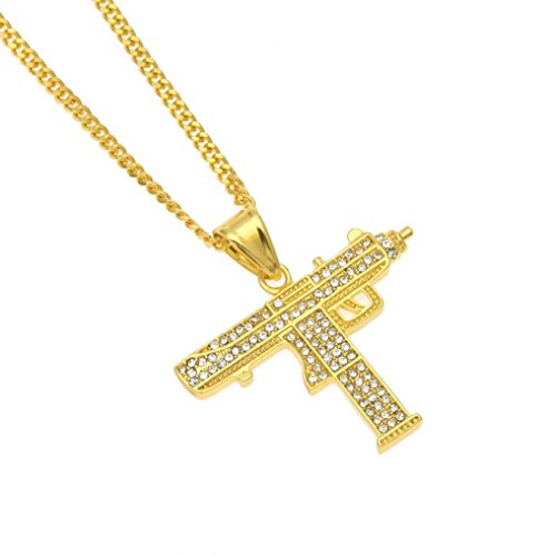 Usstore 1PC Men's Personality Necklace Diamond Hip Hop Style Pendant Cuban Chain Jewelry Gift (Gold)