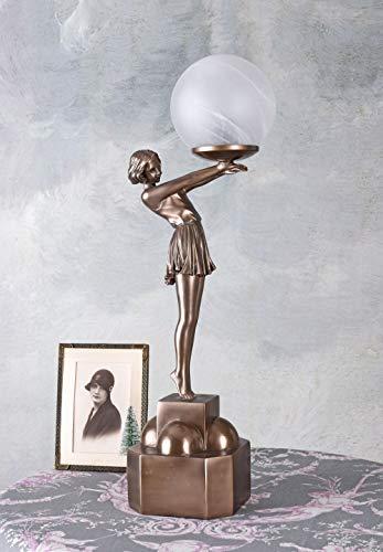 Art Deco Leuchte Kugelschirm & Frauenskulptur Tischlampe IS038 Palazzo Exklusiv