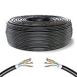 Mr. Tronic 50m Cable de Instalación Red Ethernet Bobina para Exterior | Impermeable | CAT6, AWG24, CCA, UTP, RJ45 | LAN Gigabit de Alta Velocidad | Conexión a Internet y Datos | Negro (50 Metros)