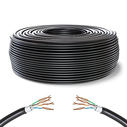 Mr. Tronic 50m Ethernet Netzwerk Netzwerkkabel Wasserdicht | Wetterfest | Datenkabel | Installationskabel | Verlegekabel | CAT6, AWG24, CCA, UTP, RJ45 | LAN Internet Gigabit Kabel (50 Meter, Schwarz)