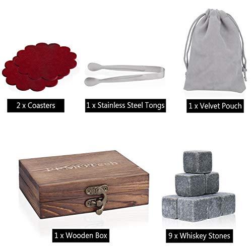 PEMOTech Whisky Steine, 9 Paare Granit-Drink-Rocks, 1 Edelstahlclip und 2 Untersetzer, verpackt in Einer exklusiven hölzernen Geschenk-Tasche und Samt-Tasche, Männer im Winter - 8