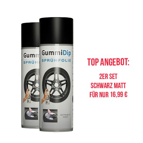 Gummi Dip Sprühfolie 12000002 Flüssiggummi Spray 2er Set, 2x400 ml, schwarz matt
