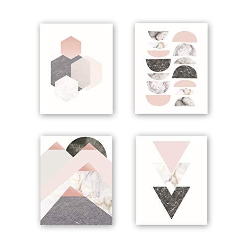 Ungerahmt, abstrakte Geometrie-Kunstdruck, modern Kunstdruck, Set mit 4 Stück, 20,3 x 25,4 cm, geometrische Wandkunst, Leinwandbild, Dreiecke, Sonnenaufgang, Kunstdruck für Wohnzimmer Wanddekoration